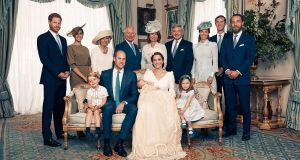 Members of the British royal family are pictured in an official photograph to mark the christening of  Prince Louis, at Clarence House, London. Photograph: Matt Holyoak/Camera Press/EPA