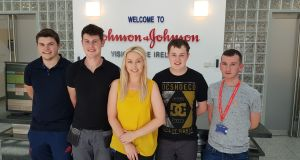 Aislinn Smith with her fellow manufacturing technician apprentices Marc O'Rourke, Ben Madden,  Garrett Collins and Paul McDonnell.