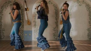 Jessica Keenan Wynn, Lily James and Alexa Davies in Mamma Mia! Here We Go again.
