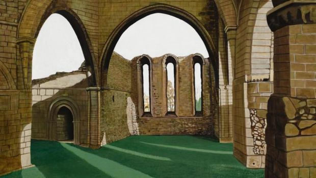 "Stephen Loughman's ""Buildwas Abbey"", after Mrs Ball, Ketley WI, oil on canvas, 70x100cm (2016)"