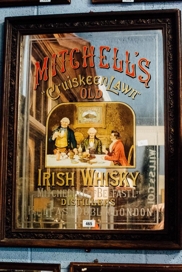 A rare Mitchell's Cruiskeen Lawn pub mirror with a guide price of €4,000-€6,000