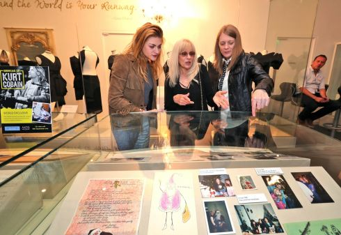 Frances Bean Cobain, Wendy O'Connor and Kim Cobain look at some of the specially curated personal items. Photograph: Colin Keegan, Collins Dublin