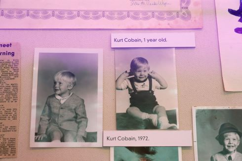 Photographs of Kurt Cobain as a child on display at the opening of the 'Growing Up Kurt' exhibition. Photograph: Brian Lawless/PA Wire