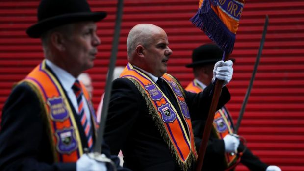 Derry Orangemen: a Twelfth of July parade in the city. Photograph: Brian Lawless/PA Wire