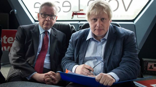 Michael Gove and Boris Johnson: The elections watchdog is expected to find that Brexit campaign Vote Leave broke spending rules during the 2016 referendum. Photograph: Stefan Rousseau/PA