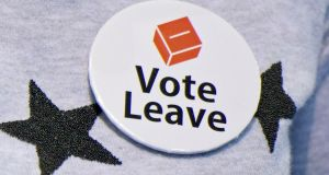 Vote Leave badge: Almost every aspect of British public life is now refracted through the simplistic slogans of June 2016. Photograph:  John Linton/PA