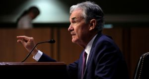 Federal Reserve chairman Jerome Powell giving his testimony on the US economy. Photograph: James Lawler Duggan/Reuters
