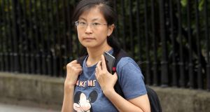 Cheng Zhang pictured leaving the Four Courts after she was awarded €256,000 in damages over a car accident. Photograph: Collins Courts.