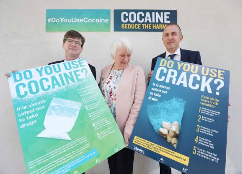 DRUGS AWARENESS: At the launch of a campaign to raise awareness of the dangers of using cocaine and crack were Dr Eamon Keenan of the HSE, Minister of State for Health Promotion Catherine Byrne, and Tony Duffin, chief executive of the Ana Liffey Drug Project. Cocaine is reportedly more available and at a higher purity in Europe today than it has been in many years.
