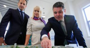 Taoiseach  Leo Varadkar, Minister of State for Higher Education Mary Mitchell O'Connor and Minister for Finance Paschal Donohoe pictured at DIT's Grangegorman campus on Tuesday.  Photograph: Gareth Chaney/Collins.