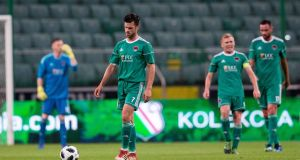 Cork City's James Keohane after his team concede their first goal in Warsaw. Photograph: Tomasz Jastrzebowski/Inpho