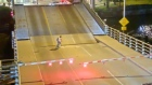 Cyclist falls through movable bridge gap after ignoring barriers