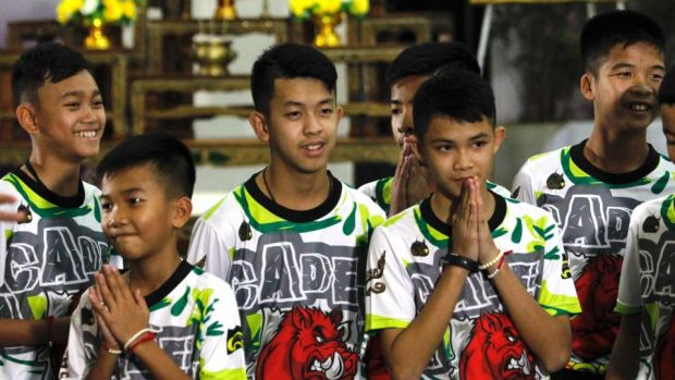 Some of the 12 members of the Wild Boar soccer team. Photograph: Pongmant Tasiri/EPA