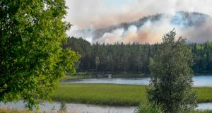 Forest fires burn near Ljusdal, Sweden, on Tuesday. Photograph: Maja Suslin/ AFP/TT News Agency