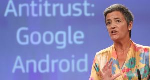 EU Commissioner for Competition Margrethe Vestager, from Denmark, speaks at a news conference on the concurrence case with Google Android at the European commission in Brussels.