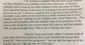 "Letter sent from ""Annoyed Resident"" about children's play that was hotly debated on social media this week"