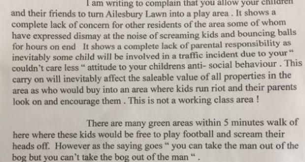 Where do the children play? 'Annoyed Resident' letter sparks