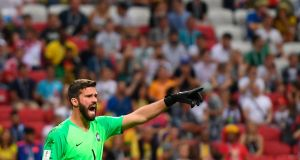 Brazil goalkeeper Alisson is on his way to Anfield. Photograph: Manan Vatsyayana/Getty Images