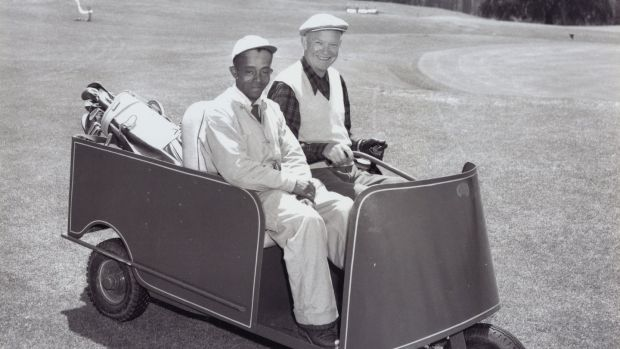 "US president Dwight D Eisenhower and his faithful caddie Willie ""Cemetary"" Perteet at Augusta National in 1953. Photo: Augusta National/Getty Images"