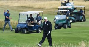 US President Donald Trump as he plays a round of golf on the Ailsa course at Trump Turnberry. Photo: Andy Buchanan/Getty Images