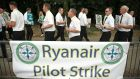 Ryanair pilots picket outside Dublin Airport last week. Ryanair met trade union representatives today in an effort to break the deadlock that threatens pilot strikes at the airline on  Friday