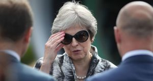 Don't talk to me about Brexit: Theresa May takes a break from the House of Commons to attend the Farnborough airshow. Photograph: Andrew Matthews / PA