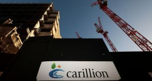 Earlier this year Carillion collapsed into administration, which resulted in the Irish construction firm the joint venture hired to build the schools, Sammon Contracting Ireland Ltd, going into liquidation. Photograph: Simon Dawson/Reuters