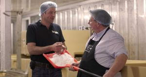 Keoghs Crisps managing director Tom Keogh with supplier Michael O'Neill of O'Neills Irish Atlantic Sea Salt of the Beara Peninsula.