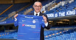 New Chelsea manager Maurizio Sarri is unveiled at Stamford Bridge, London. Photo: Steve Paston/PA Wire