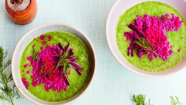 Chilled cucumber soup with beetroot yoghurt granita.