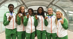 Ireland's silver medal winners from the World U-20 Championships in Finland,  (l-r)  Rhasidat Adeleken, Sommer Lecky, Gina Akpe-Moses, Patience Jumbo-Gula, Ciara Neville  and Molly Scott. Photograph: Piaras Ó Mídheach/Sportsfile