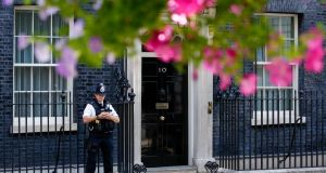 Political chaos has embroiled Number 10 Downing Street as Brexit deadlines loom. Photograph: Luke MacGregor/Bloomberg
