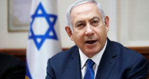 "Israeli prime minister Binyamin Netanyahu: addressed the Knesset from the podium after the Bill was passed. ""This is our country. The state of the Jews,"" he said.  Photograph: Reuters"