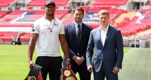 Anthony Joshua and Alexander Povetkin during a press conference at Wembley Stadium. Photo: John Walton/PA Wire