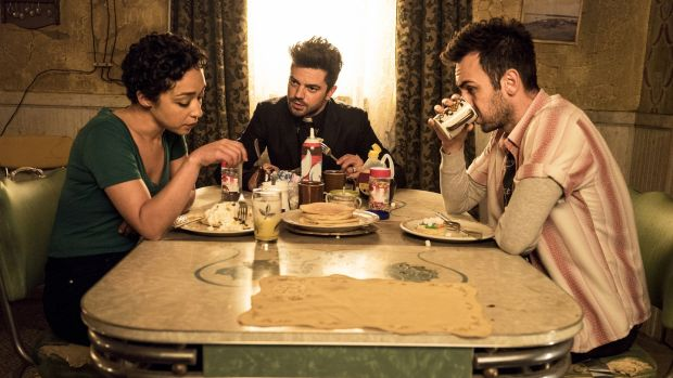 Joseph Gilgun as Cassidy, Dominic Cooper as Jesse Custer, Ruth Negga as Tulip O'Hare in Preacher. Photograph: Michele Short/AMC/Sony Pictures Television