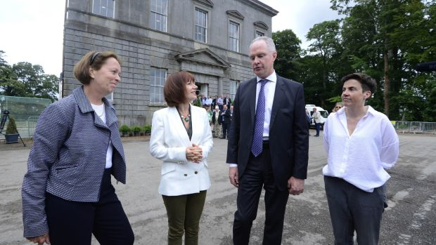 Prof Alice Stanton, Minister for Heritage Josepha Madigan, Owen Brennan, and Dr Clíodhna Ní Lionáin at Dowth Hall, Co Meath. Photograph: Cyril Byrne/The Irish Times