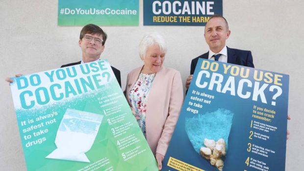 "HSE's Dr Eamon Keenan, Minister of State Catherine Byrne and Tony Duffin of Anna Liffey: If the HSE is genuinely interested in ""harm reduction"" when it comes to cocaine, it could have pointed out the drug is unethical and immoral."