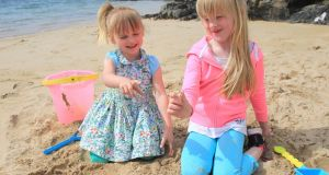 Sisters Maisie (3) and Lola Busch (6) from Lisburn who while on their holidays in Portsalon, Co Donegal, found the lost wedding ring. Photograph: Donna El Assaad