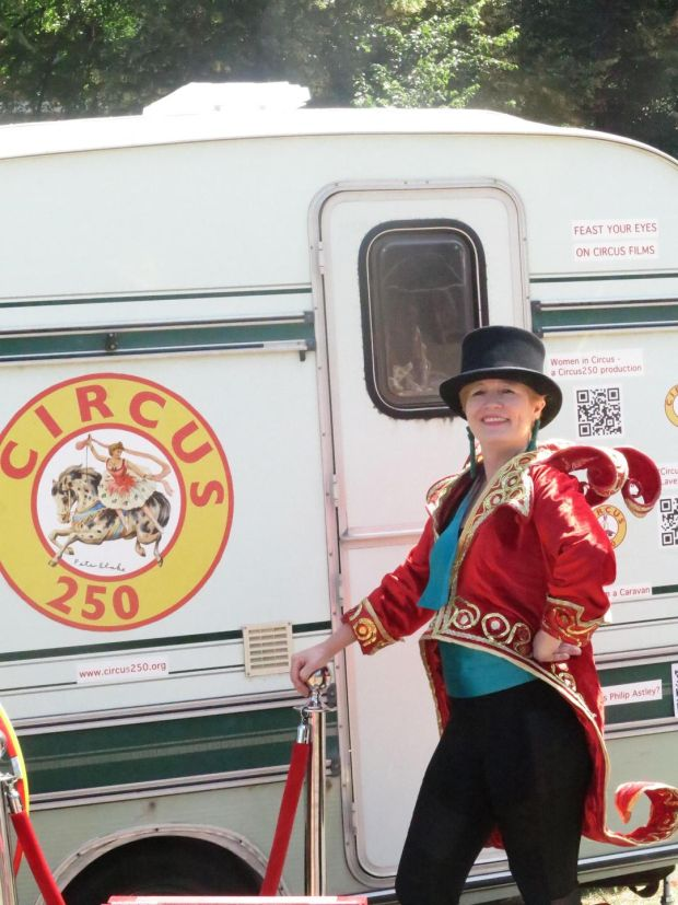 Dea Birkett outside her caravan