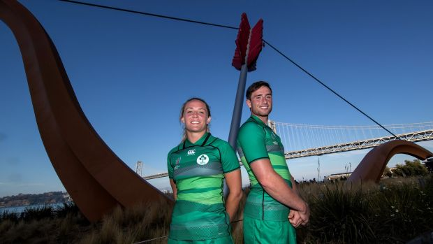 Ireland's Ashleigh Baxter and Billy Dardis at the launch of the Rugby World Cup Sevens in San Francisco, California. Photograph: Billy Stickland/Inpho