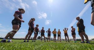 Head coach Anthony Eddy talks to the Ireland women's team during squad training for the  World Cup Sevens at   San Francisco GAA club. Photograph: Billy Stickland/Inpho