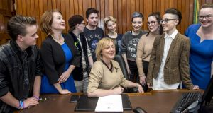 Minister for Social Protection Regina Doherty (centre) and chair to the review group of the Gender Recognition Act 2015 Moninne Griffith (second left) with guests. Photograph: Brenda Fitzsimons