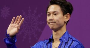 Figure skater Denis Ten, of Kazakhstan, in the Gangneung Ice Arena at the 2018 Winter Olympics. Photograph: AP