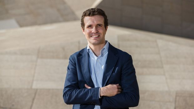 Popular Party leadership candidate Pablo Casado poses in Ávila, Spain. File photograph: Cesar Manso/AFP/Getty Images