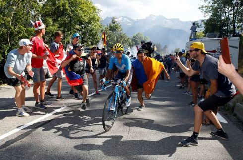 TOUR DE FRANCE: Movistar rider Nairo Quintana during Stage 12 of the Tour de France. Photograph: Stephane Mahe/Reuters