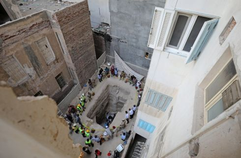 FORGOTTEN TOMB: The residential area where a coffin containing three mummies was discovered in Alexandria, Egypt. Photograph: Mohamed Abd El Ghany/Reuters