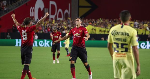 Juan mata rescues manchester united in first pre season friendly juan mata of manchester united celebrates his goal with matteo darmian during their friendly against club stopboris Image collections