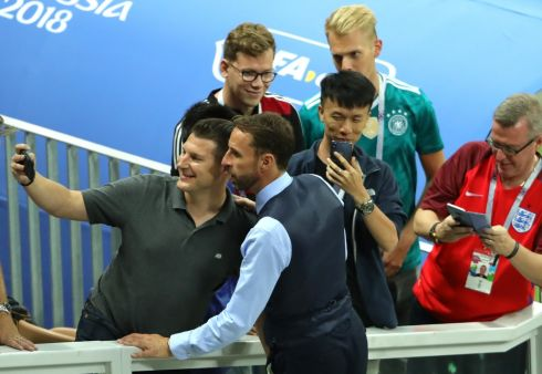 THE REAL THING:  Gareth Southgate, manager of England, takes a selfie with a fan following semifinal match between England and Croatia at Luzhniki Stadium in Moscow.  Photo: Alexander Hassenstein/Getty Images