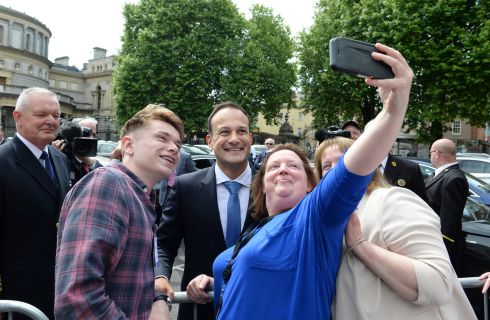 LEADER: Just over a year ago, then newly elected Taoiseach  Leo Varadkar got in on the act with  Leinster House staff Jack O'Driscoll, Lisa Kiernan and Patricia Smith. Photograph: Dara Mac Donaill / The Irish Times