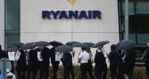 Ryanair strikers outside the company's head office in Swords, Co Dublin. Photograph: Nick Bradshaw